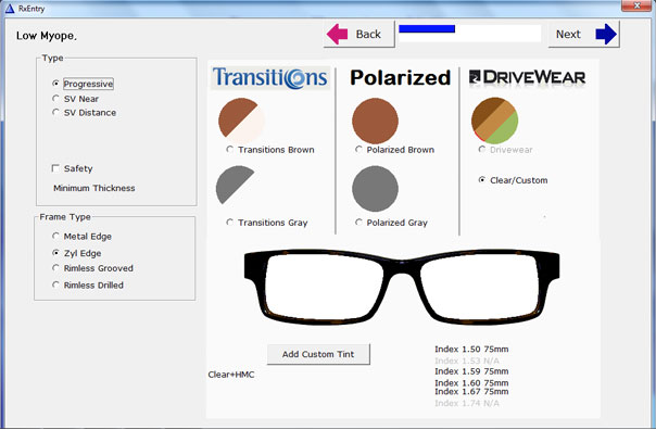 Select lens type and tints